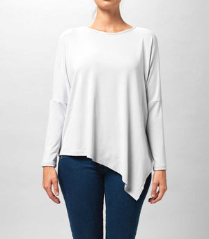 Asymmetrical Top in Viscose Light Grey