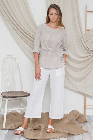 Crushed Linen Top with Tie