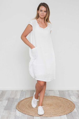 Crushed Linen Cap Sleeve Dress