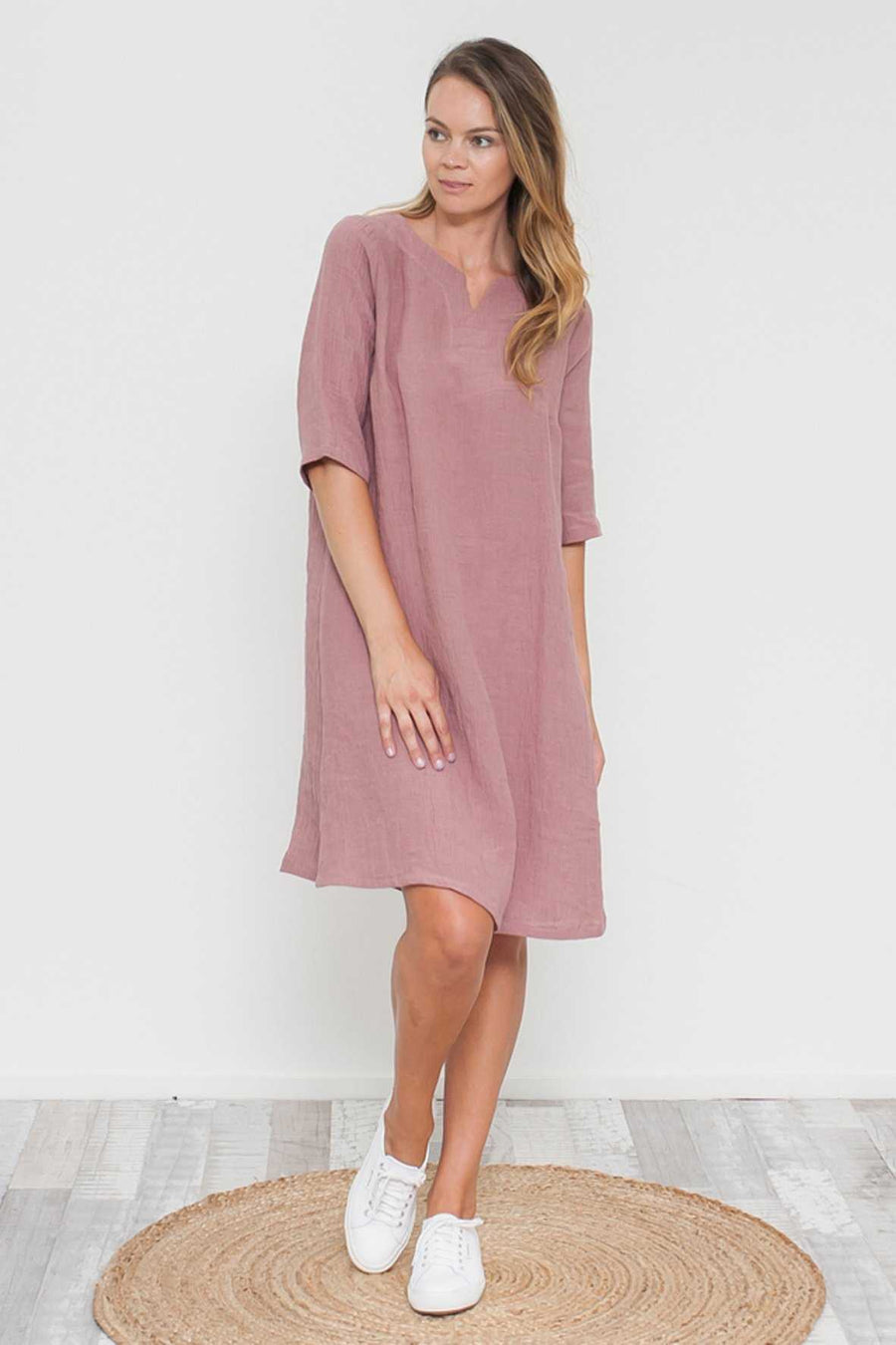 Crushed Linen Elbow Sleeve Dress