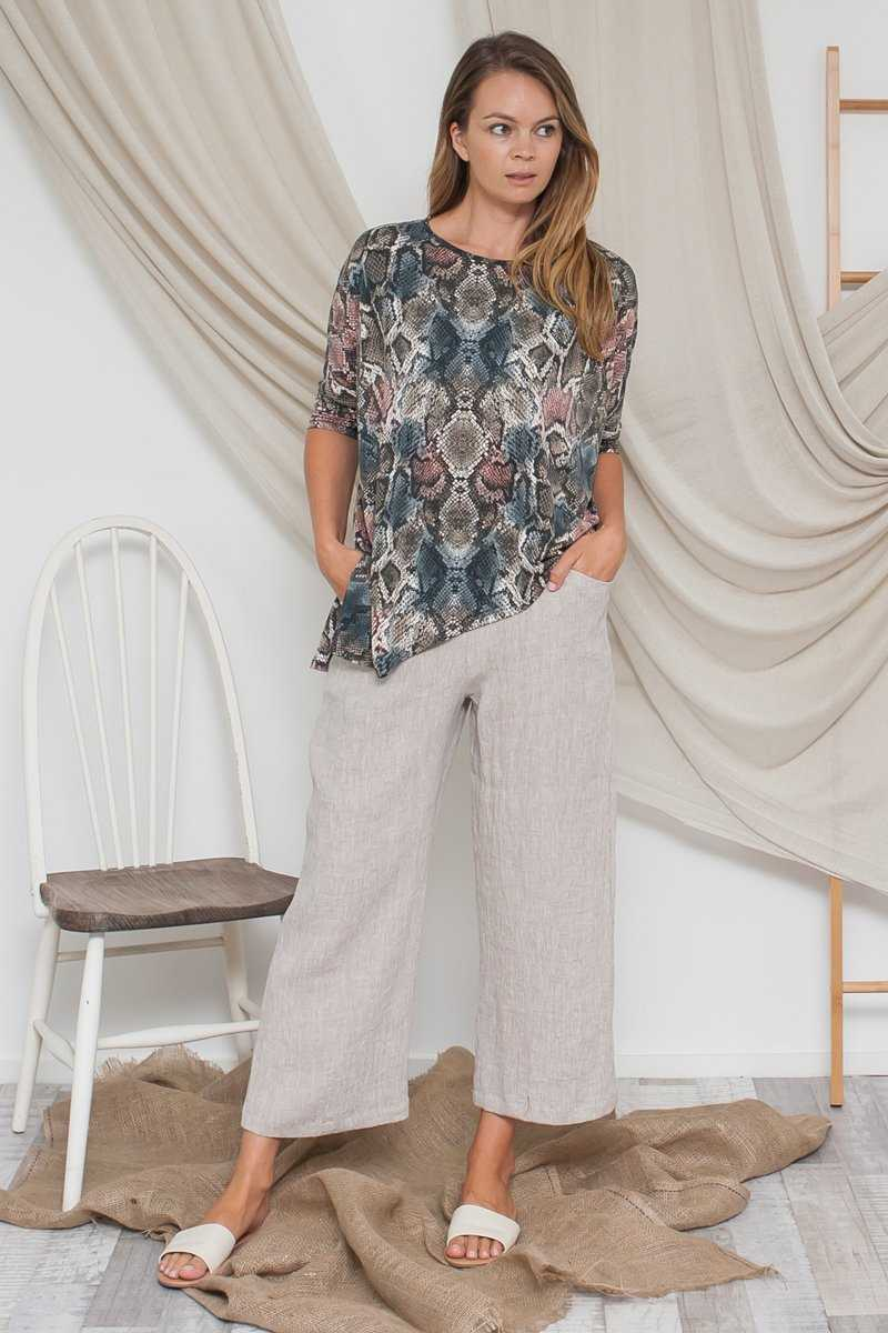 Crushed Linen Straight Leg Pant