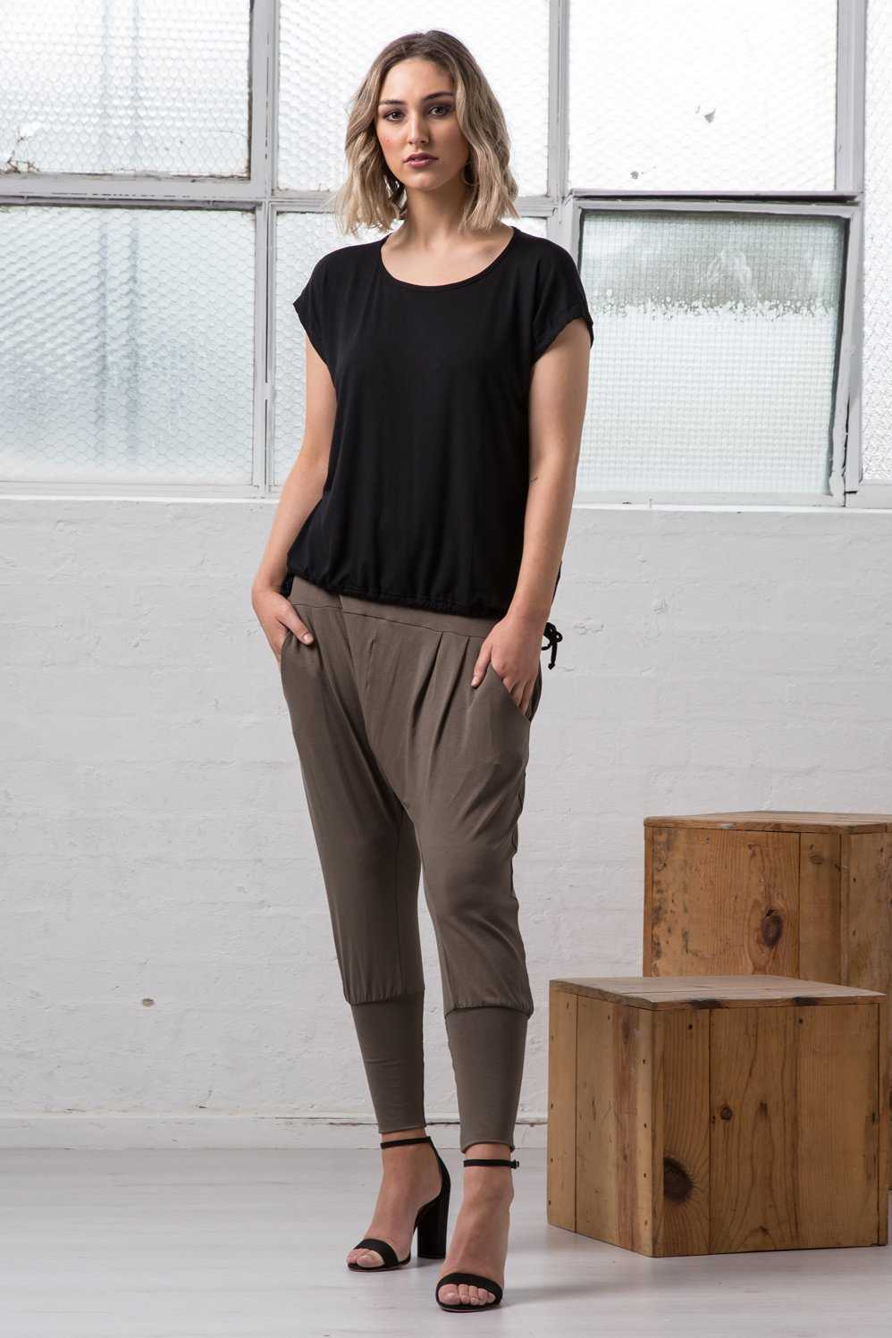 Micro modal Black top with ties over Khaki viscose pant