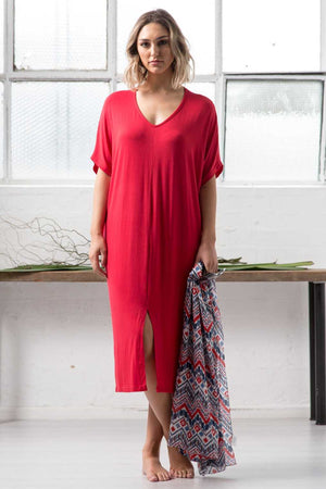 V NECK MAXI WITH FRONT SPLIT