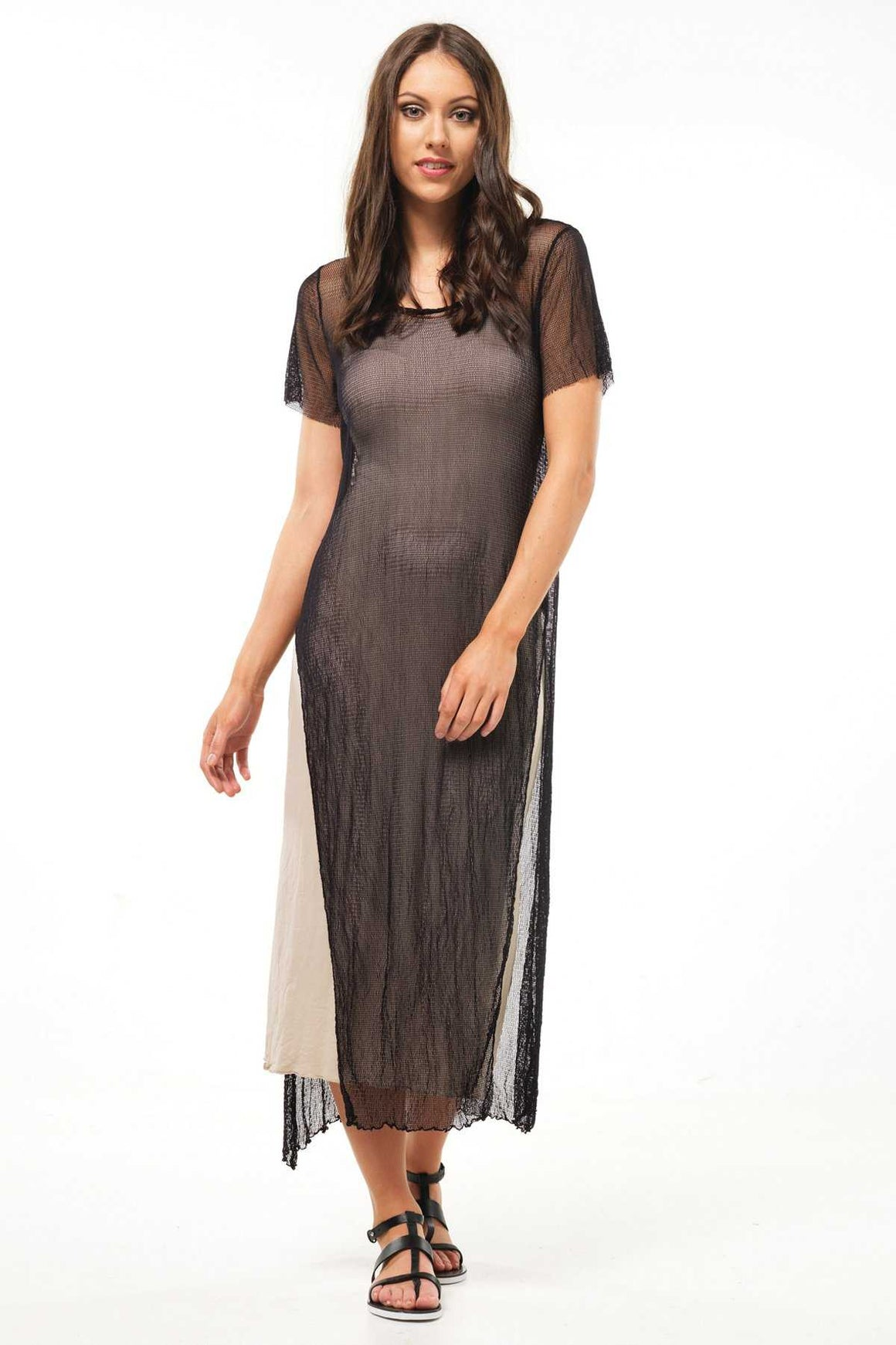 open mesh maxi with splits in Black