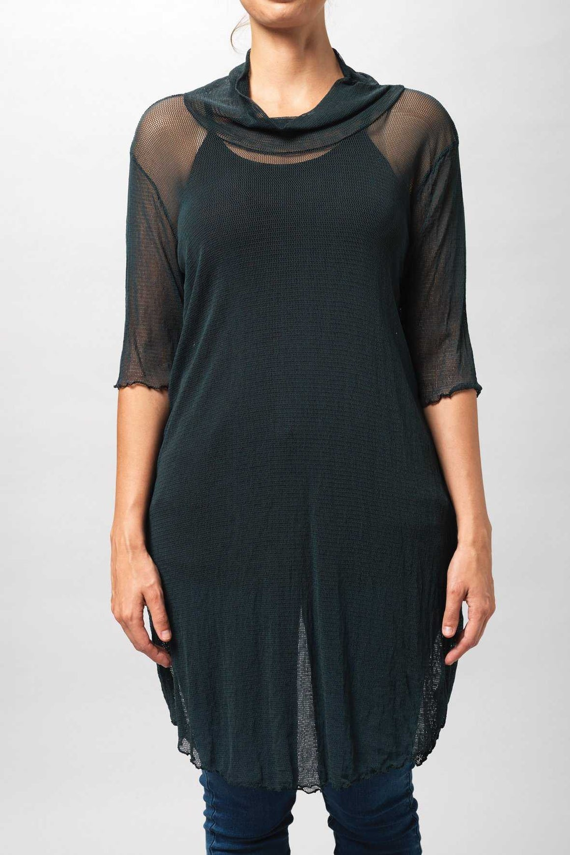 skivvy tunic open mesh fabric in Dark Green