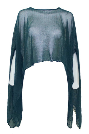open mesh poncho in Green