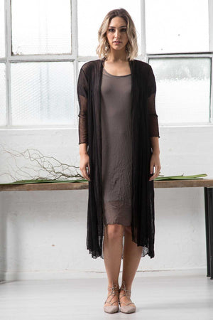 open mesh dress in Khaki with Open mesh long cardi in Black