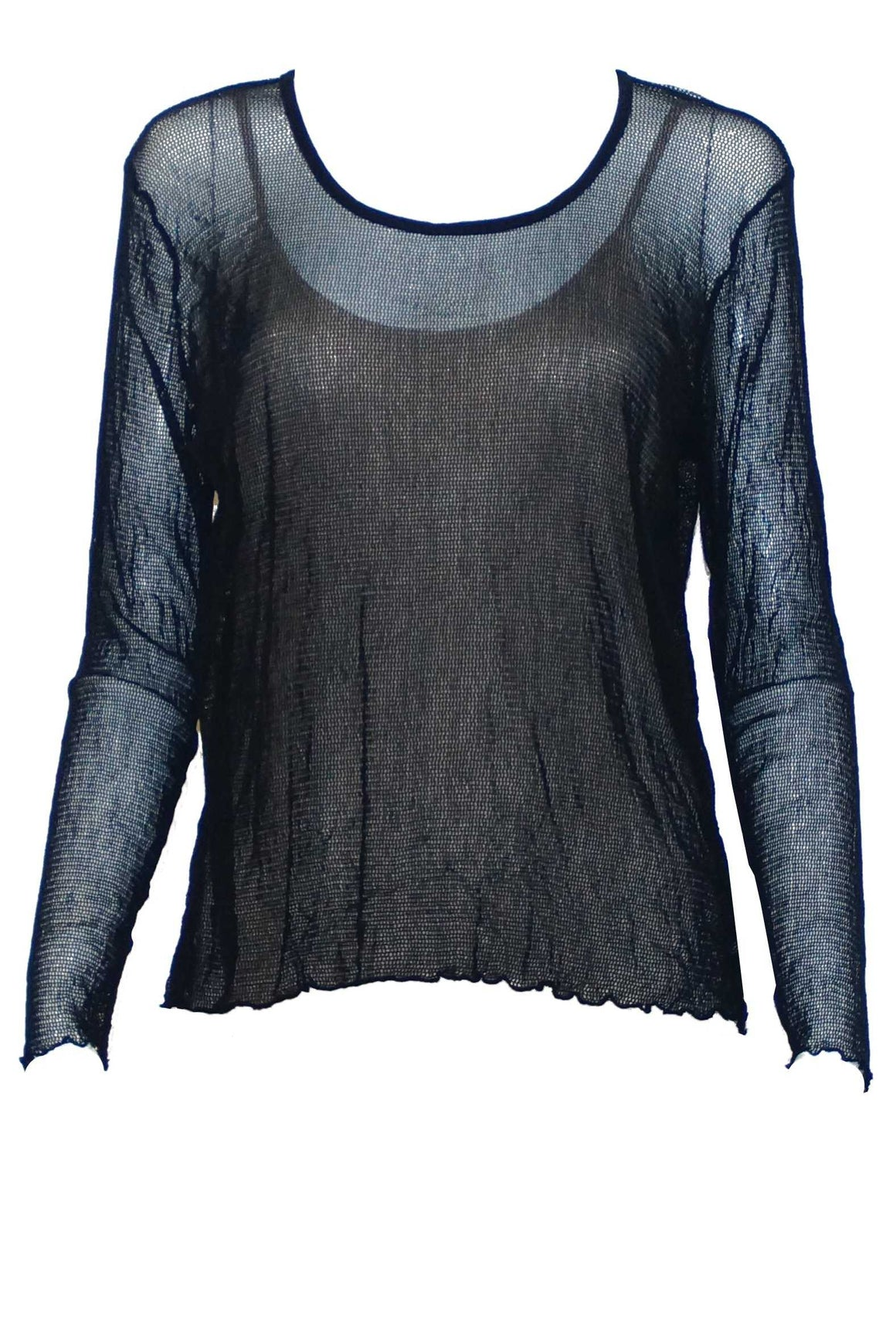 Basic Open Mesh top Long Sleeve Charcoal