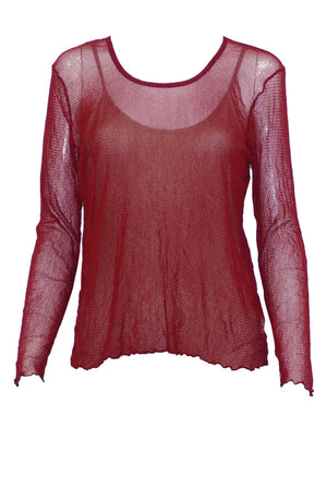 Basic Open Mesh top Long Sleeve Red