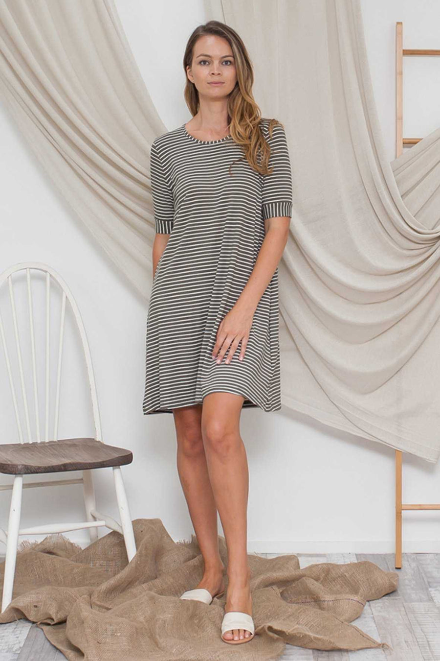 Elbow Sleeve Stripe Dress