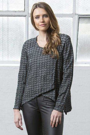 square cross over top in wool blend jacquard Black Marle