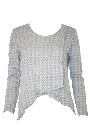 square cross over top long sleeves Grey colour