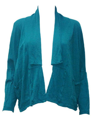 Wool short boxy cardigan in Green
