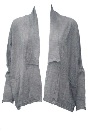 Wool short boxy cardigan in Grey