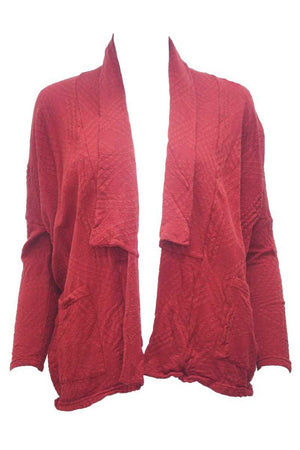 Line short boxy cardigan in Red with long sleeves and pocket