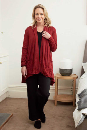red wool blend stretch fabric swing cardigan