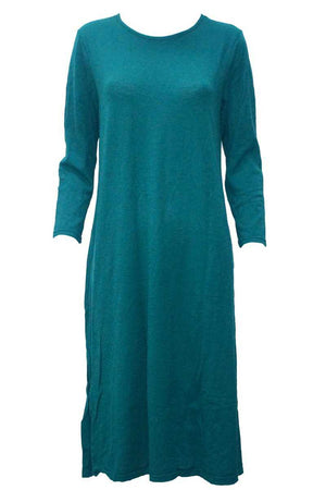 maxi dress in wool blend fabric with long sleeves in Green