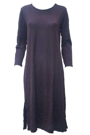 maxi dress in wool blend fabric with long sleeves in Purple