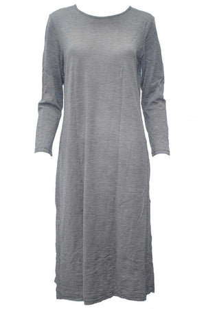 maxi dress in wool blend fabric with long sleeves