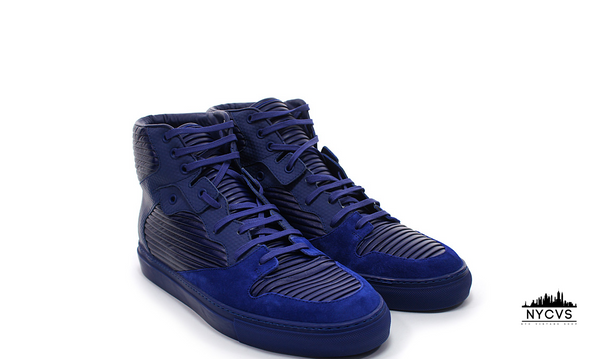 Balenciaga Leather Pleated High Top Sneakers Violet - NYC Vintage Shop