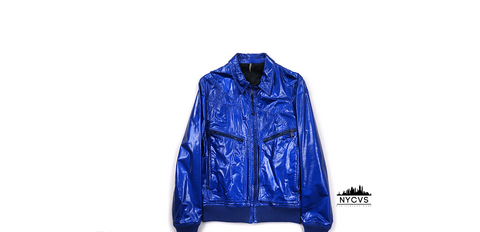Christian Dior Cobalt Metallic Patent Leather Runaway Jacket - NYC Vintage Shop