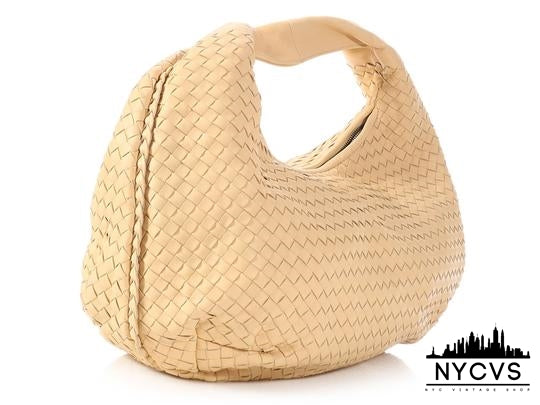 Bottega Veneta Woven Belly Cream Beige Leather Hobo Bag - NYC Vintage Shop