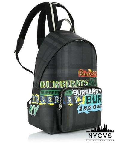 Burberry Abbeydale Logo-print Black Backpack - NYC Vintage Shop