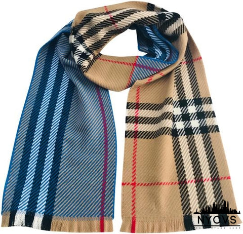Burberry Bright Hydrangea Blue Color Block Giant Check Wool  Long Scarf/Wrap - NYC Vintage Shop