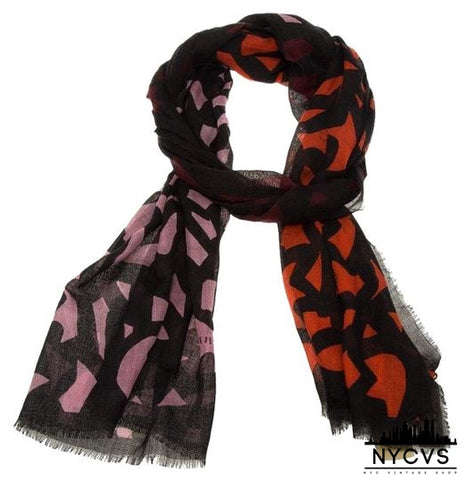 Burberry Multicolor Maroon Black Graphic Leaf Print Cashmere and Silk Scarf/Wrap - NYC Vintage Shop