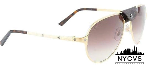 Cartier Santos De Gold Frame & Brown Gradient Anti-reflective Lens  Aviator Style Unisex Sunglasses - NYC Vintage Shop