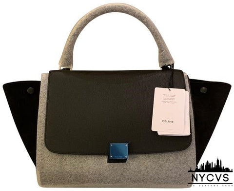 Céline Trapeze Longstrap Removable Black Shoulder Bag - NYC Vintage Shop