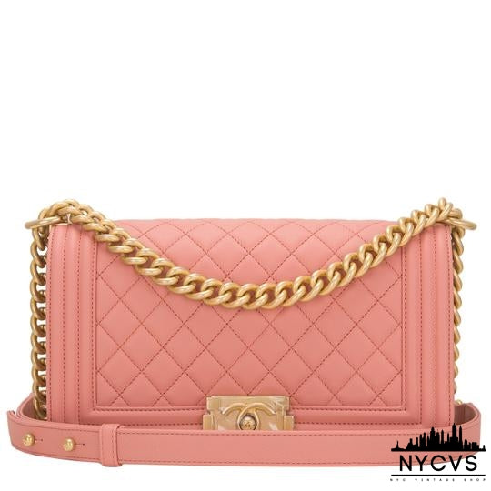 Chanel Boy Powder Medium Quilted Caviar Pink Leather Shoulder Bag - NYC Vintage Shop