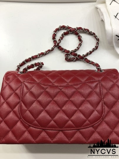Chanel Classic Flap Medium In Dark Red Caviar Leather Shoulder Bag - NYC Vintage Shop