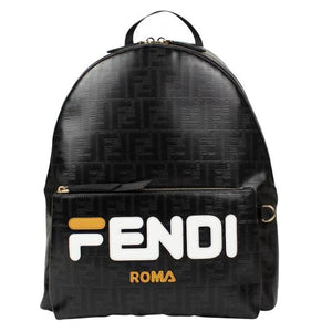 Fendi x FILA Black Coated Mania' Calfskin Leather Backpack - NYC Vintage Shop