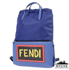Fendi Logo Leather Blue Backpack - NYC Vintage Shop