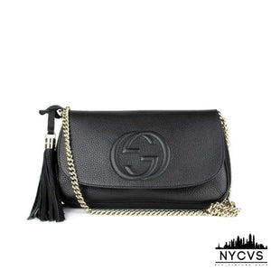 Gucci Interlocking GG Chain Strap Black Leather Shoulder Bag - NYC Vintage Shop