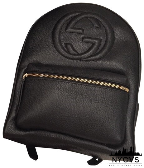 Gucci Soho Black Calfskin Leather Backpack - NYC Vintage Shop
