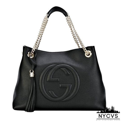 Gucci Soho Medium Chain-strap Tote Black Leather Shoulder Bag - NYC Vintage Shop