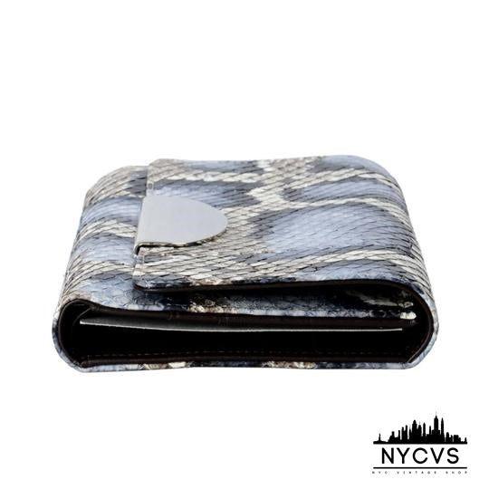 """1"" Women's Wallet Blue / Tan Python Skin / Leather Clutch - NYC Vintage Shop"
