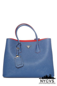 Prada Double Edera Saffiano Cuir Tote Blue Leather Shoulder Bag - NYC Vintage Shop