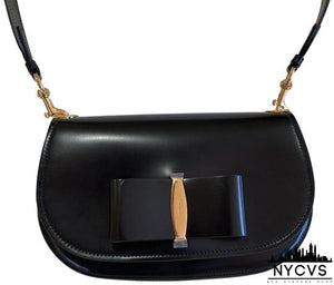Salvatore Ferragamo New with Removable Guitar Strap. Black Calfskin Leather Shoulder Bag - NYC Vintage Shop