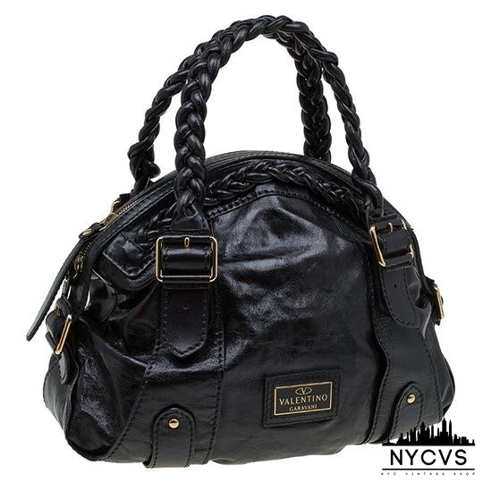 Valentino Braided Handle Dome Black Leather Satchel - NYC Vintage Shop