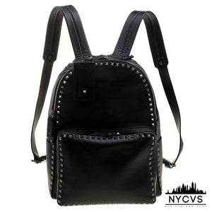 Valentino Leather Rockstud Black Canvas Backpack - NYC Vintage Shop