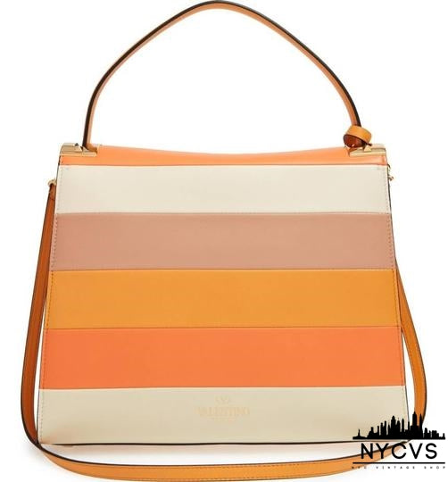 Valentino Rockstud Soft Orange Tan and Beige Leather Cross Body Bag - NYC Vintage Shop