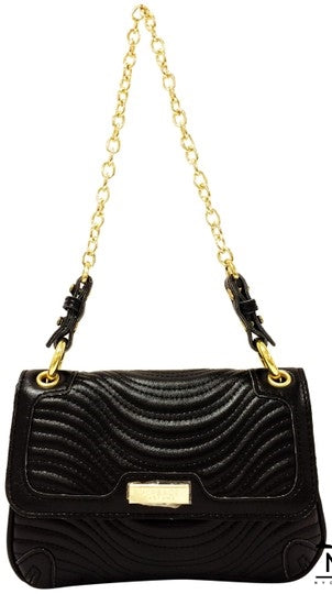 Versace Perfumes Sample Evening Black Leather Shoulder Bag - NYC Vintage Shop