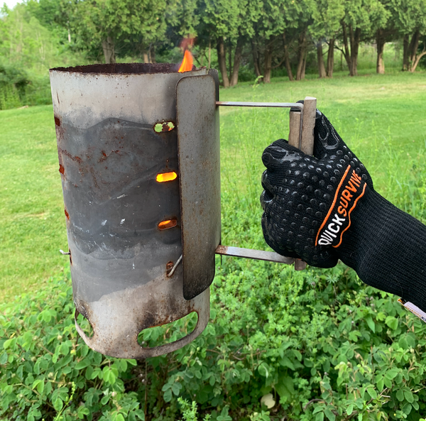 Our favorite grill gloves to protect our hands from heat for grilling, smoker, fireplace. QuickSurvive heat resistant gloves.