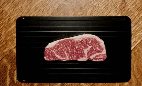 Change the way you defrost and properly, but quickly defrost your frozen steaks with ThawTable the premium defrosting solution