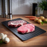 ThawTable - Defrosting Food Reimagined - Best Defrosting Tray And_Kitchen Accessory Of 2021 - Side by side of defrosted steak and frozen steak for dinner time - ThawTable Our Three Sizes of Thawing Trays for all food defrosting needs
