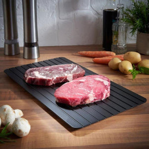 ThawTable Medium Size - Defrosting Food Reimagined - Best Defrosting Tray - Before and after side by side of  NY strip steak on a ThawTable Travel Size Thawing Tray for Limited counter space, Single Apartment, or Dorm Room and Travel - Defrost Meat, Veggies, and anything Frozen solid for a magical and rapid thaw