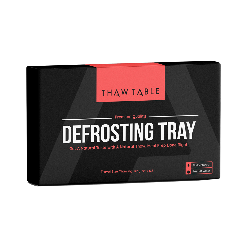 ThawTable - Defrosting Food Reimagined - Best Defrosting Tray And Kitchen Accessory Of 2021 - ThawTable Travel Size Thawing Tray for Camping, Dorms, Backpacking, Apartments and Travel - Defrost Meat, Veggies, and anything Frozen solid for a magical and rapid thaw - Find Out How A Defrosting Tray Works - Product Packaging